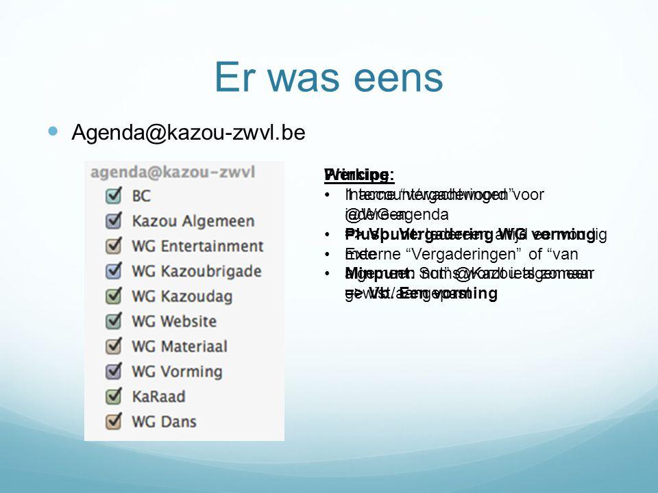 """Er was eens Agenda@kazou-zwvl.be Principe: Interne """"vergaderingen"""" @WG-agenda => Vb. Vergadering WG vorming Externe """"Vergaderingen"""" of """"van algemeen n"""