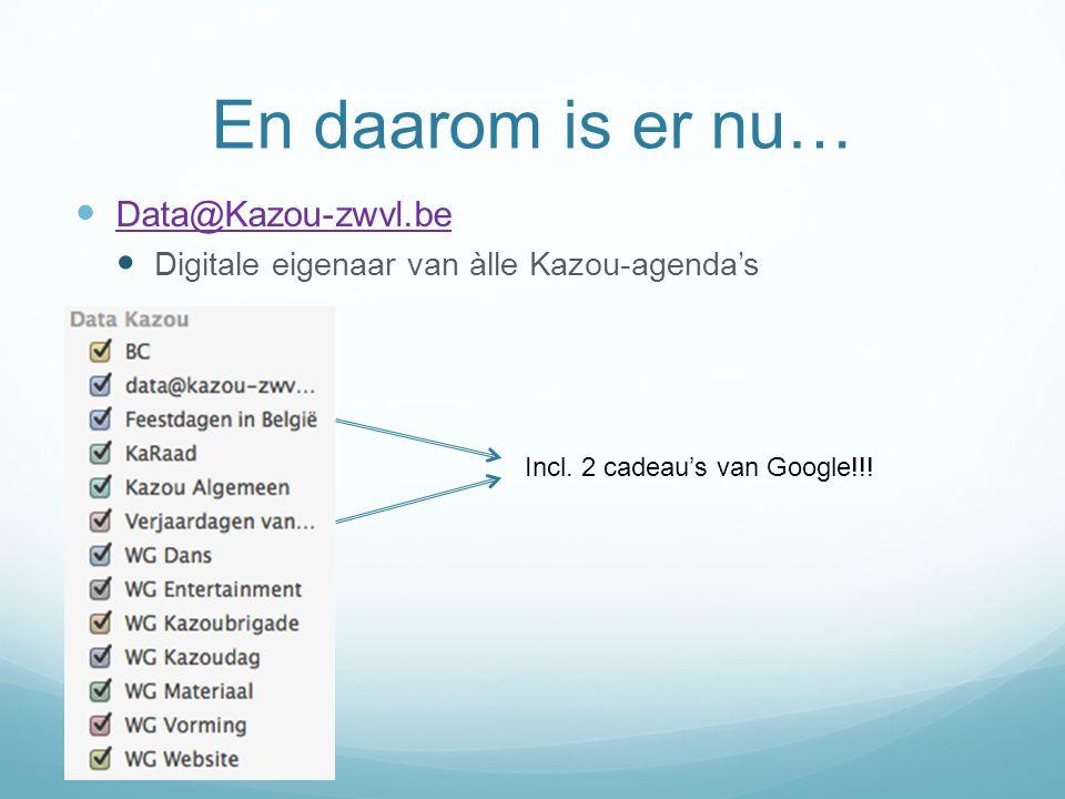 En daarom is er nu… Data@Kazou-zwvl.be Digitale eigenaar van àlle Kazou-agenda's Incl. 2 cadeau's van Google!!!
