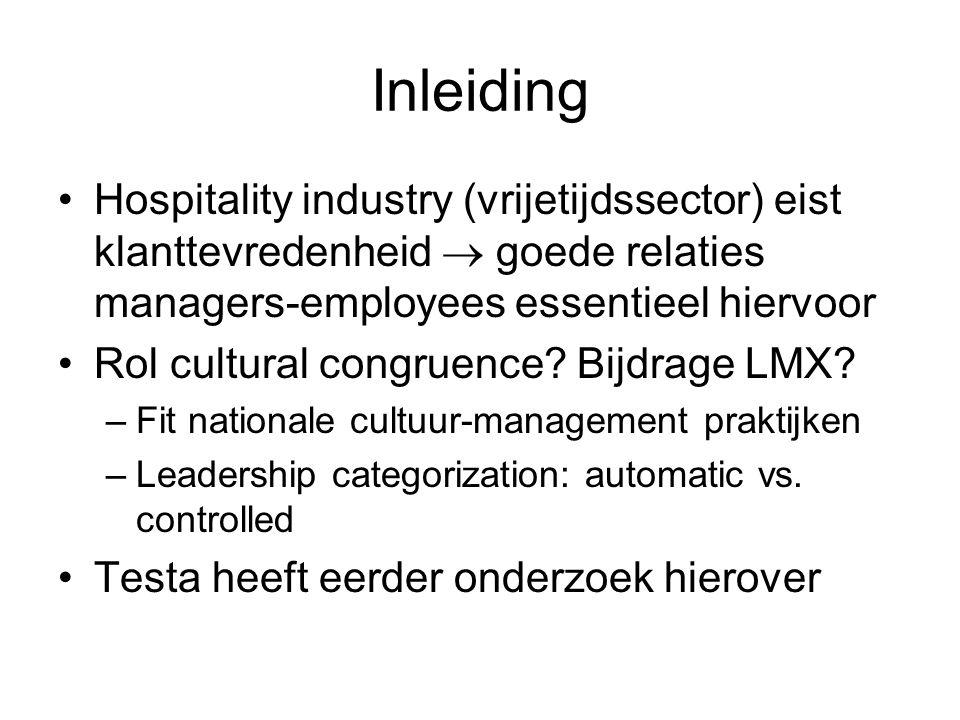 Inleiding Hospitality industry (vrijetijdssector) eist klanttevredenheid  goede relaties managers-employees essentieel hiervoor Rol cultural congruen