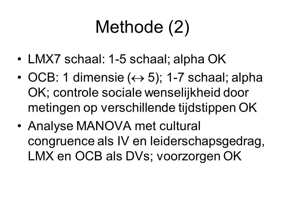 Methode (2) LMX7 schaal: 1-5 schaal; alpha OK OCB: 1 dimensie (  5); 1-7 schaal; alpha OK; controle sociale wenselijkheid door metingen op verschille
