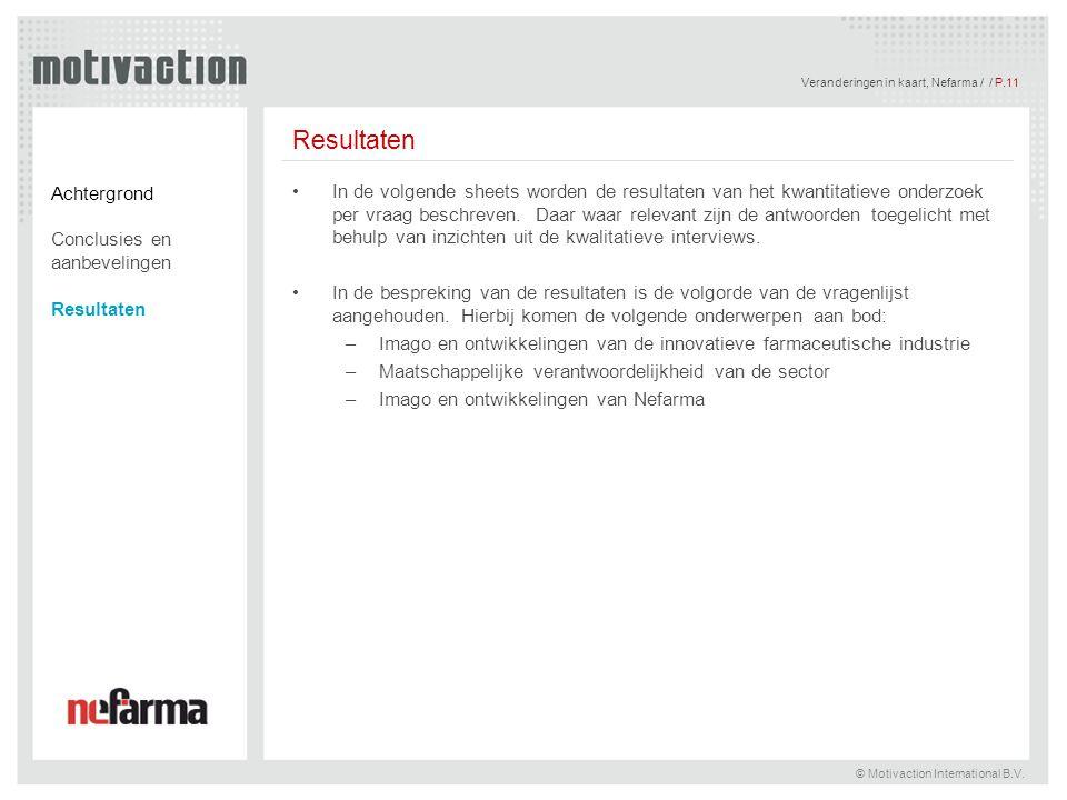 Veranderingen in kaart, Nefarma / / P.11 © Motivaction International B.V. Resultaten In de volgende sheets worden de resultaten van het kwantitatieve