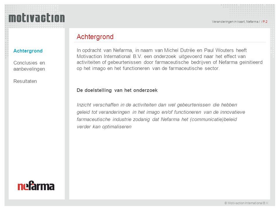 Veranderingen in kaart, Nefarma / / P.2 © Motivaction International B.V. Achtergrond Conclusies en aanbevelingen Resultaten In opdracht van Nefarma, i