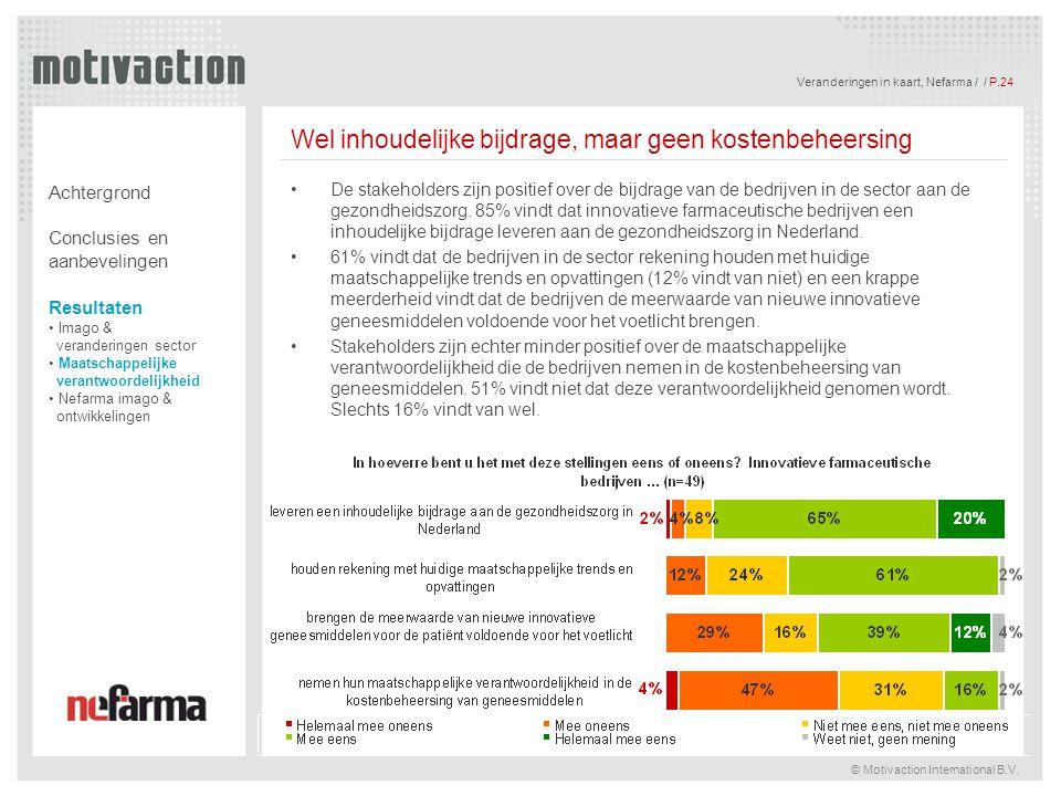 Veranderingen in kaart, Nefarma / / P.24 © Motivaction International B.V. Wel inhoudelijke bijdrage, maar geen kostenbeheersing De stakeholders zijn p
