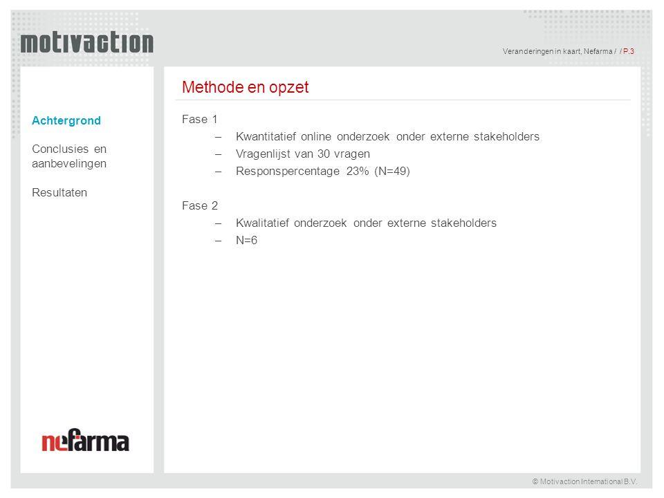 Veranderingen in kaart, Nefarma / / P.3 © Motivaction International B.V. Methode en opzet Fase 1 –Kwantitatief online onderzoek onder externe stakehol