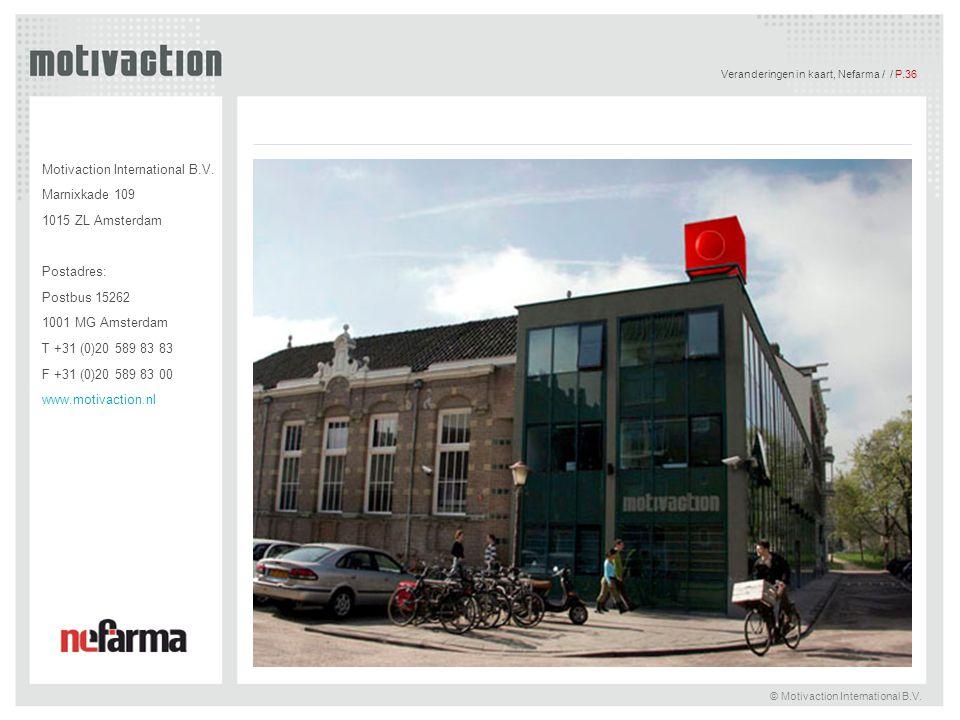 Veranderingen in kaart, Nefarma / / P.36 © Motivaction International B.V. Motivaction International B.V. Marnixkade 109 1015 ZL Amsterdam Postadres: P