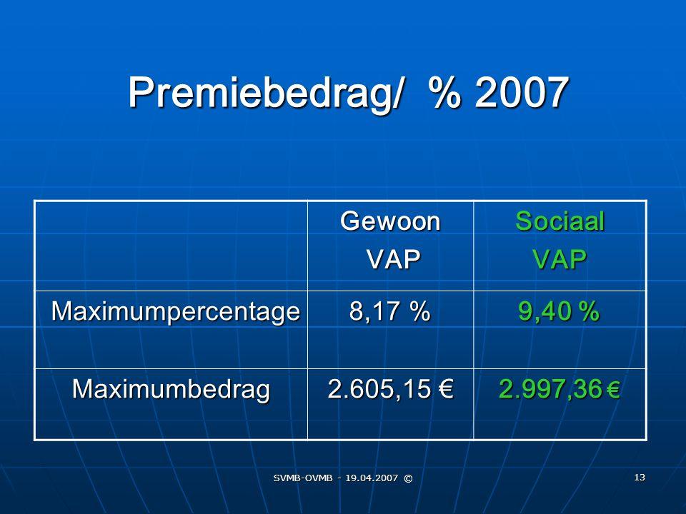 SVMB-OVMB - 19.04.2007 © 13 Premiebedrag/ % 2007 Gewoon VAP VAPSociaalVAP Maximumpercentage 8,17 % 9,40 % Maximumbedrag 2.605,15 € 2. 997, 36 €