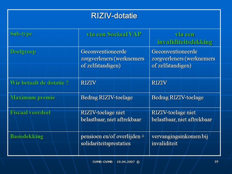 SVMB-OVMB - 19.04.2007 © 19 RIZIV-dotatie Sub-type via een Sociaal VAP via een invaliditeitsdekking Doelgroep Geconventioneerde zorgverleners (werknem