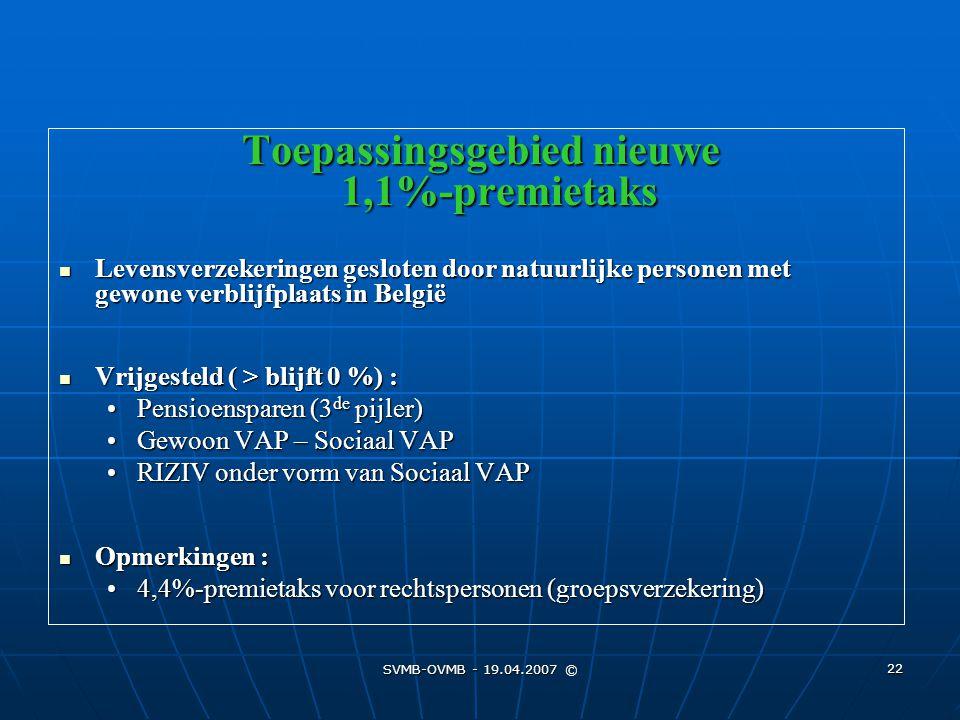 SVMB-OVMB - 19.04.2007 © 22 Toepassingsgebied nieuwe 1,1%-premietaks Levensverzekeringen gesloten door natuurlijke personen met gewone verblijfplaats