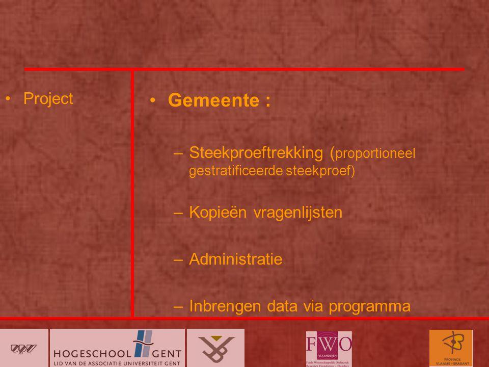 Project Gemeente : –Steekproeftrekking ( proportioneel gestratificeerde steekproef) –Kopieën vragenlijsten –Administratie –Inbrengen data via programma