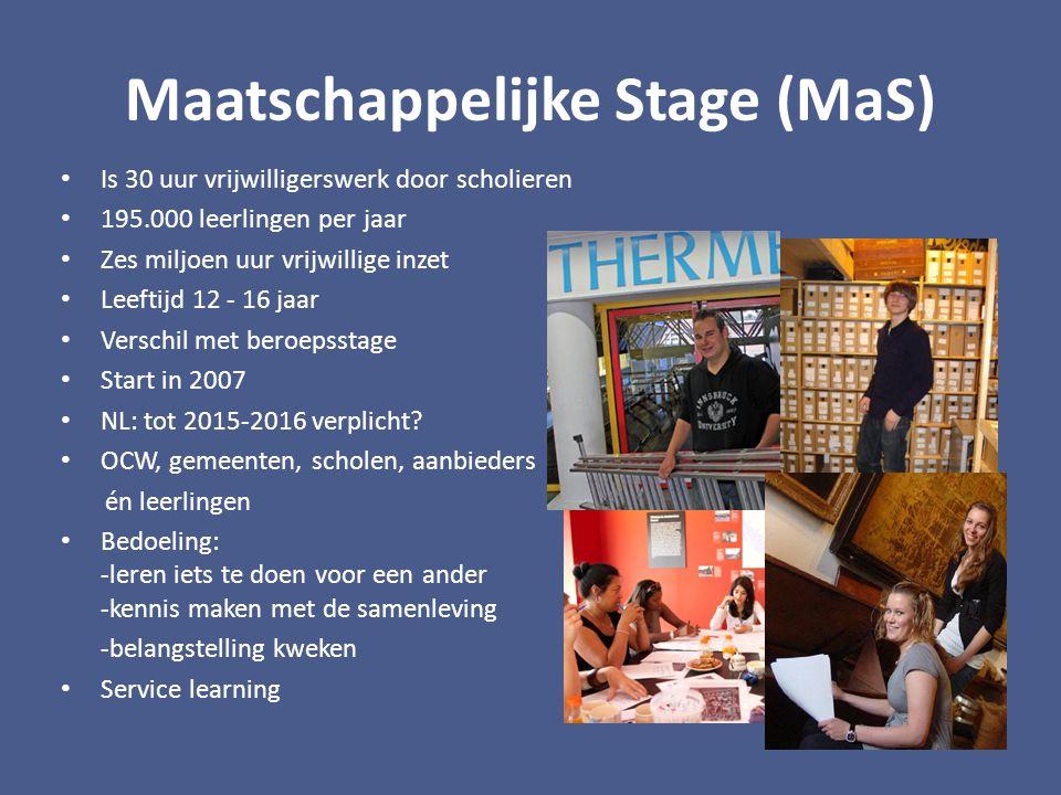 Maatschappelijke Stage (MaS) Is 30 uur vrijwilligerswerk door scholieren 195.000 leerlingen per jaar Zes miljoen uur vrijwillige inzet Leeftijd 12 - 16 jaar Verschil met beroepsstage Start in 2007 NL: tot 2015-2016 verplicht.