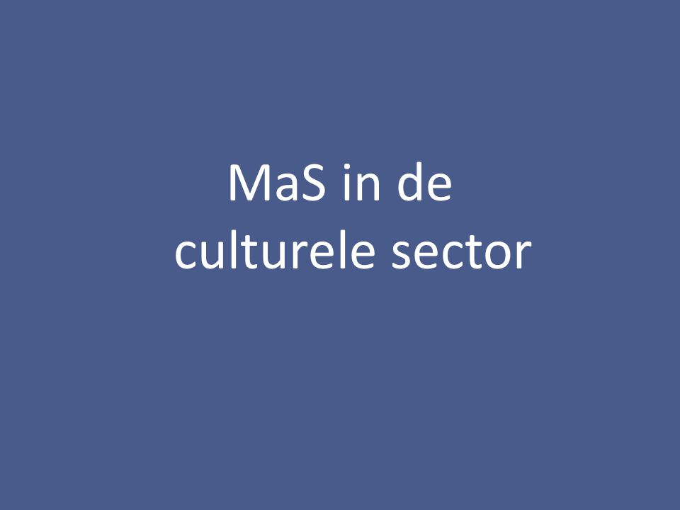MaS in de culturele sector