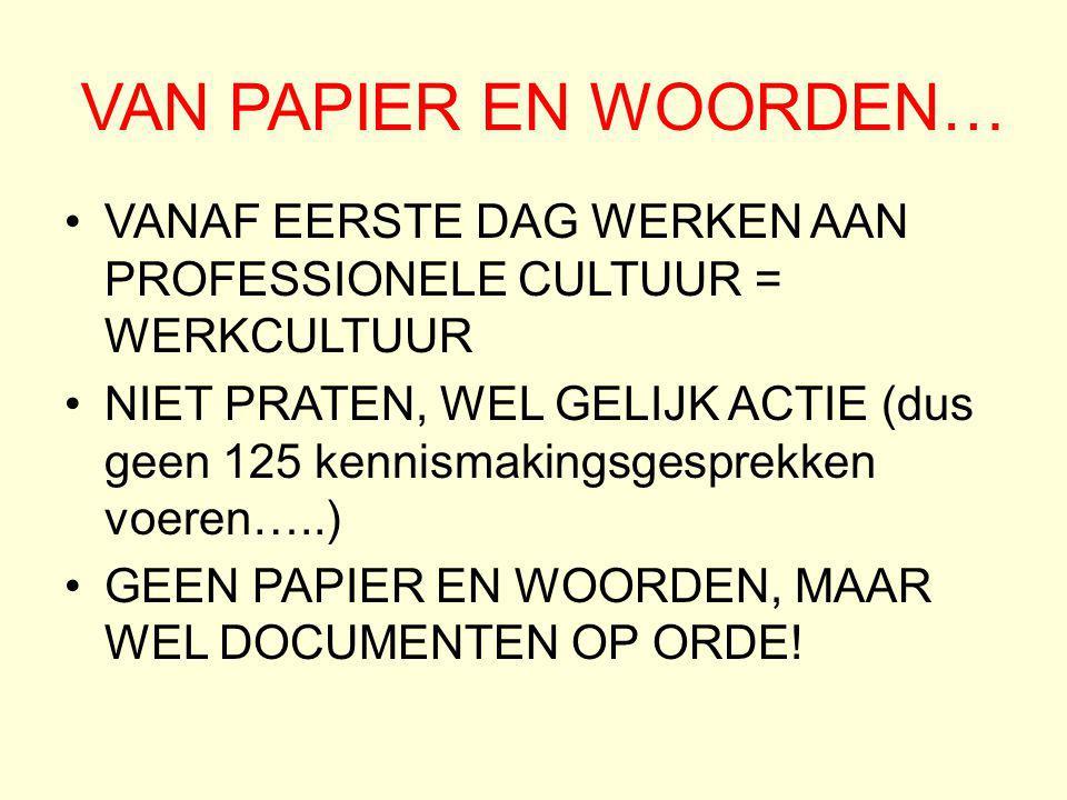 VAN PAPIER EN WOORDEN… VANAF EERSTE DAG WERKEN AAN PROFESSIONELE CULTUUR = WERKCULTUUR NIET PRATEN, WEL GELIJK ACTIE (dus geen 125 kennismakingsgespre