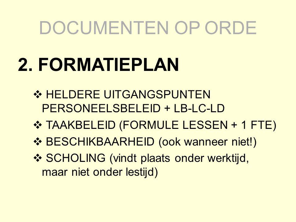 DOCUMENTEN OP ORDE 2. FORMATIEPLAN  HELDERE UITGANGSPUNTEN PERSONEELSBELEID + LB-LC-LD  TAAKBELEID (FORMULE LESSEN + 1 FTE)  BESCHIKBAARHEID (ook w