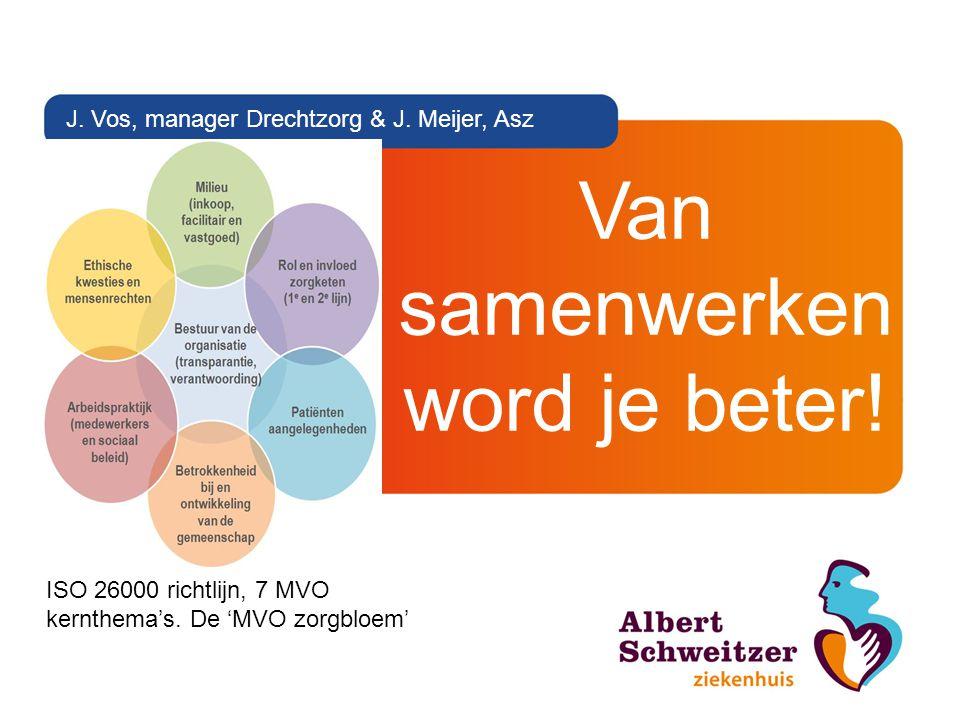 Van samenwerken word je beter! J. Vos, manager Drechtzorg & J. Meijer, Asz ISO 26000 richtlijn, 7 MVO kernthema's. De 'MVO zorgbloem'