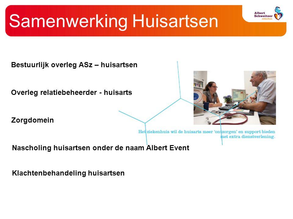 Samenwerking Huisartsen Bestuurlijk overleg ASz – huisartsen Overleg relatiebeheerder - huisarts Zorgdomein Nascholing huisartsen onder de naam Albert