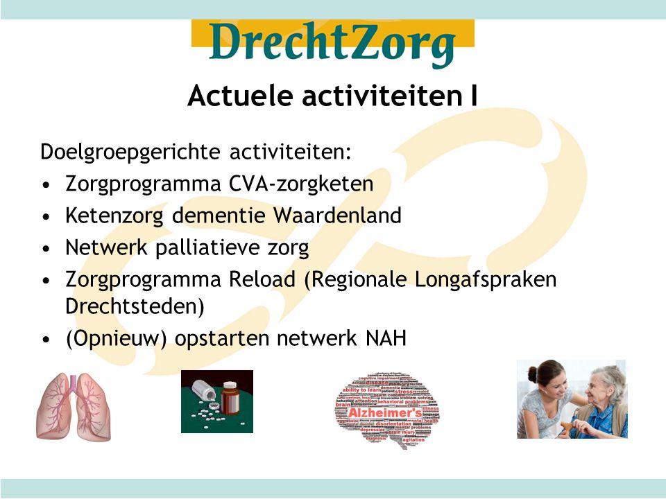 Actuele activiteiten I Doelgroepgerichte activiteiten: Zorgprogramma CVA-zorgketen Ketenzorg dementie Waardenland Netwerk palliatieve zorg Zorgprogram