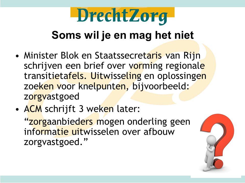 Soms wil je en mag het niet Minister Blok en Staatssecretaris van Rijn schrijven een brief over vorming regionale transitietafels. Uitwisseling en opl