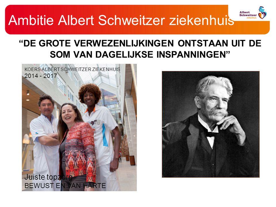 """Ambitie Albert Schweitzer ziekenhuis """"DE GROTE VERWEZENLIJKINGEN ONTSTAAN UIT DE SOM VAN DAGELIJKSE INSPANNINGEN"""" KOERS ALBERT SCHWEITZER ZIEKENHUIS 2"""