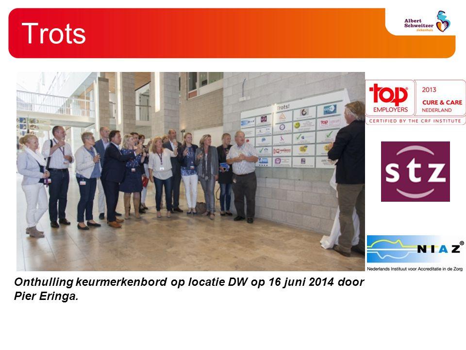 Onthulling keurmerkenbord op locatie DW op 16 juni 2014 door Pier Eringa.