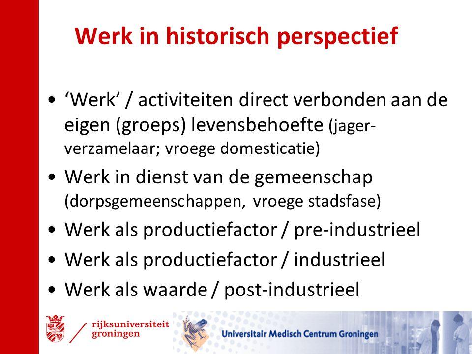 Werk in historisch perspectief 'Werk' / activiteiten direct verbonden aan de eigen (groeps) levensbehoefte (jager- verzamelaar; vroege domesticatie) W