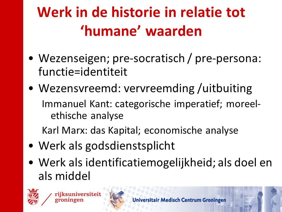 Werk in de historie in relatie tot 'humane' waarden Wezenseigen; pre-socratisch / pre-persona: functie=identiteit Wezensvreemd: vervreemding /uitbuiti