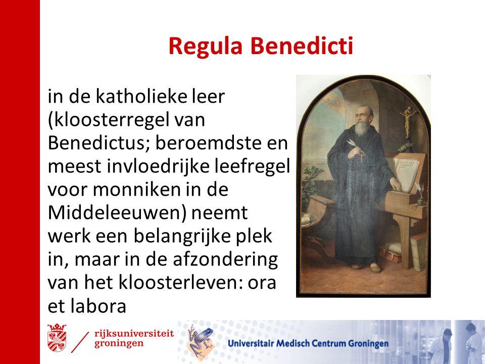 Regula Benedicti in de katholieke leer (kloosterregel van Benedictus; beroemdste en meest invloedrijke leefregel voor monniken in de Middeleeuwen) nee