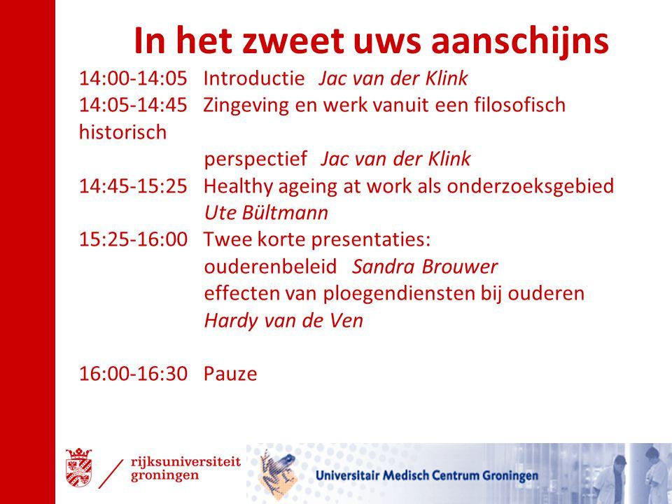 16:30-17:05 Werken aan duurzame inzetbaarheid in het Openbaar Vervoer Bas Tomassen 17:05-17:40 Telomeer of minder André Smith 17:40-17:50 Mededelingen NVAB Bestuur 17:50-18:45 Pastabuffet Italiaanse Symfonie 18:45-19:20 Elderly Resources Management; de HRM aspecten van healthy ageing at work Rob Gründemann 19:20-20:00 Healthy Ageing in het onderwijs, een contradictie.
