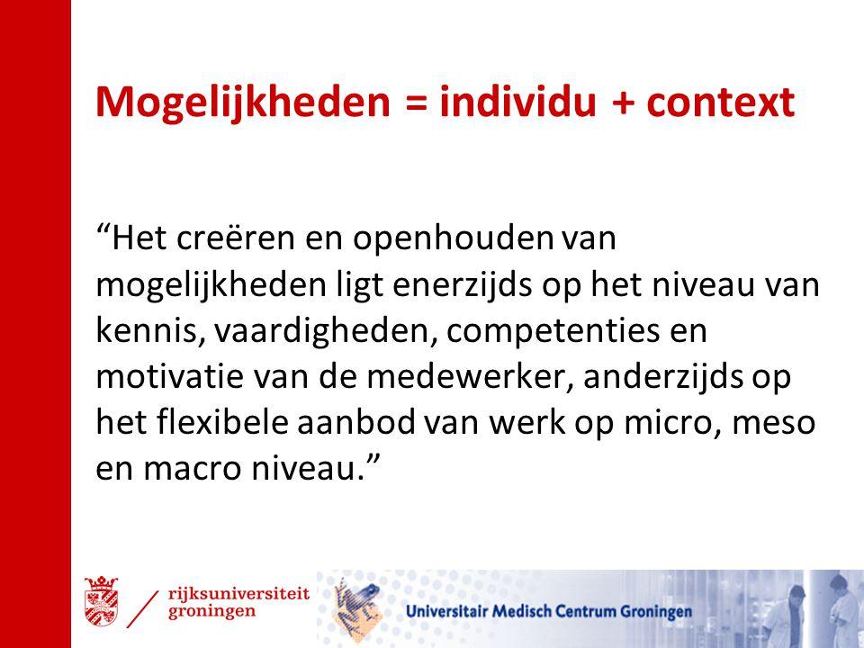 """Mogelijkheden = individu + context """"Het creëren en openhouden van mogelijkheden ligt enerzijds op het niveau van kennis, vaardigheden, competenties en"""