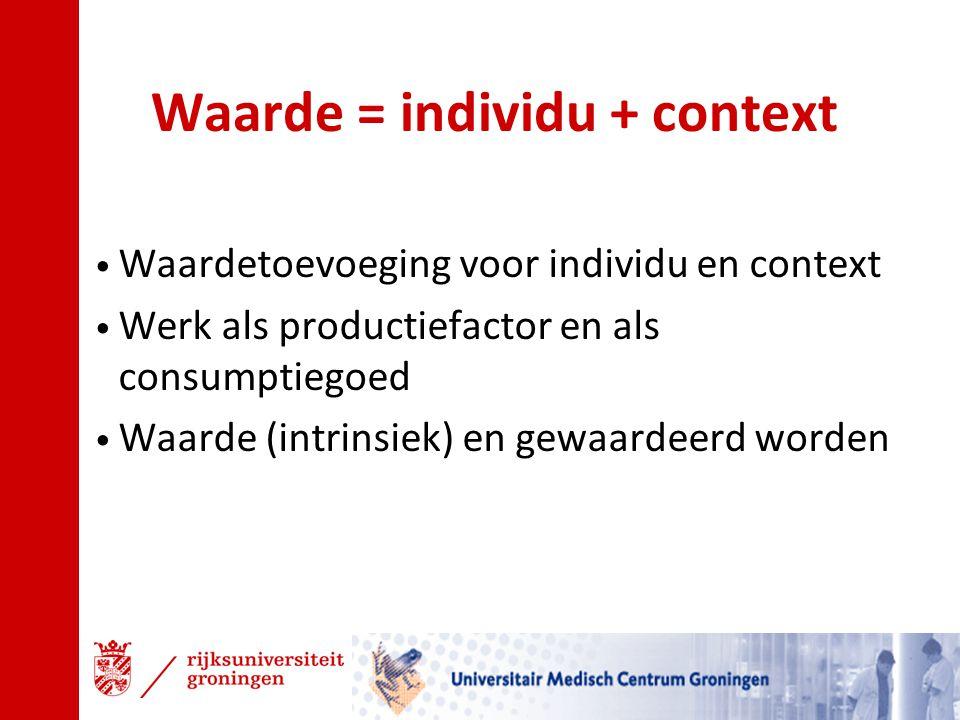 Waarde = individu + context Waardetoevoeging voor individu en context Werk als productiefactor en als consumptiegoed Waarde (intrinsiek) en gewaardeer
