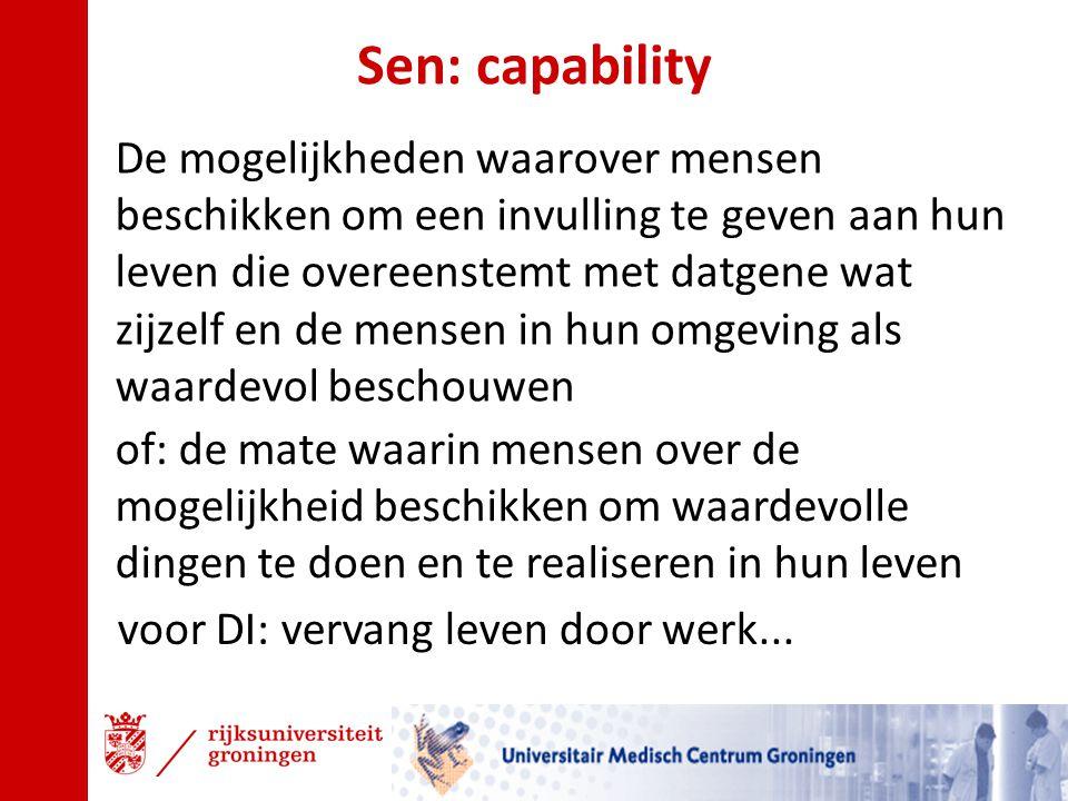 Sen: capability De mogelijkheden waarover mensen beschikken om een invulling te geven aan hun leven die overeenstemt met datgene wat zijzelf en de men