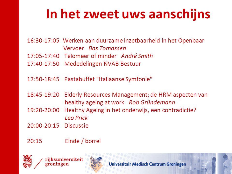 16:30-17:05 Werken aan duurzame inzetbaarheid in het Openbaar Vervoer Bas Tomassen 17:05-17:40 Telomeer of minder André Smith 17:40-17:50 Mededelingen