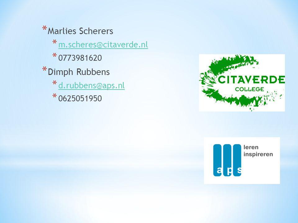 * Marlies Scherers * m.scheres@citaverde.nl m.scheres@citaverde.nl * 0773981620 * Dimph Rubbens * d.rubbens@aps.nl d.rubbens@aps.nl * 0625051950