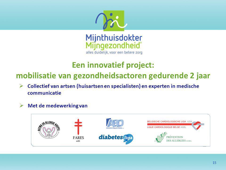 15 Een innovatief project: mobilisatie van gezondheidsactoren gedurende 2 jaar  Collectief van artsen (huisartsen en specialisten) en experten in med