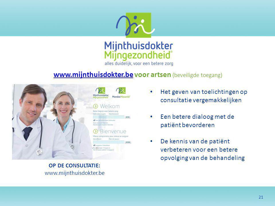 21 www.mijnthuisdokter.bewww.mijnthuisdokter.be voor artsen (beveiligde toegang) OP DE CONSULTATIE: www.mijnthuisdokter.be Het geven van toelichtingen