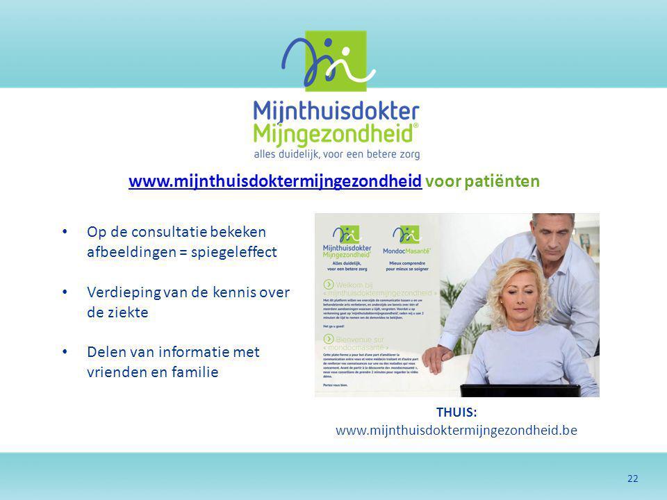 22 THUIS: www.mijnthuisdoktermijngezondheid.be www.mijnthuisdoktermijngezondheidwww.mijnthuisdoktermijngezondheid voor patiënten Op de consultatie bek