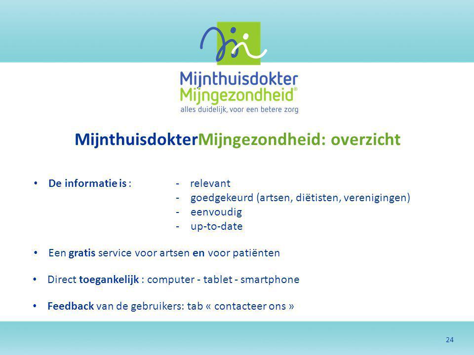 24 MijnthuisdokterMijngezondheid: overzicht De informatie is:- relevant -goedgekeurd (artsen, diëtisten, verenigingen) -eenvoudig -up-to-date Een grat