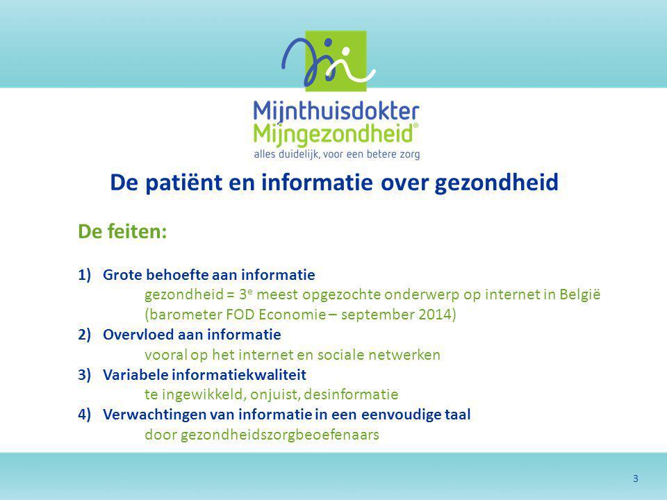3 De patiënt en informatie over gezondheid De feiten: 1)Grote behoefte aan informatie gezondheid = 3 e meest opgezochte onderwerp op internet in Belgi