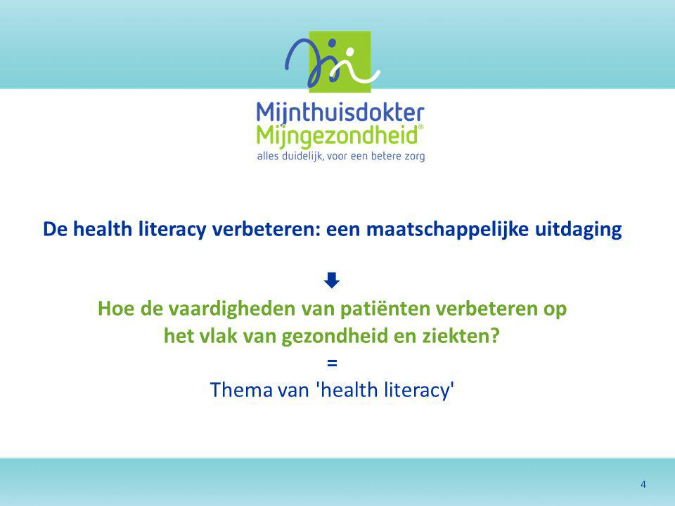 4 De health literacy verbeteren: een maatschappelijke uitdaging  Hoe de vaardigheden van patiënten verbeteren op het vlak van gezondheid en ziekten?