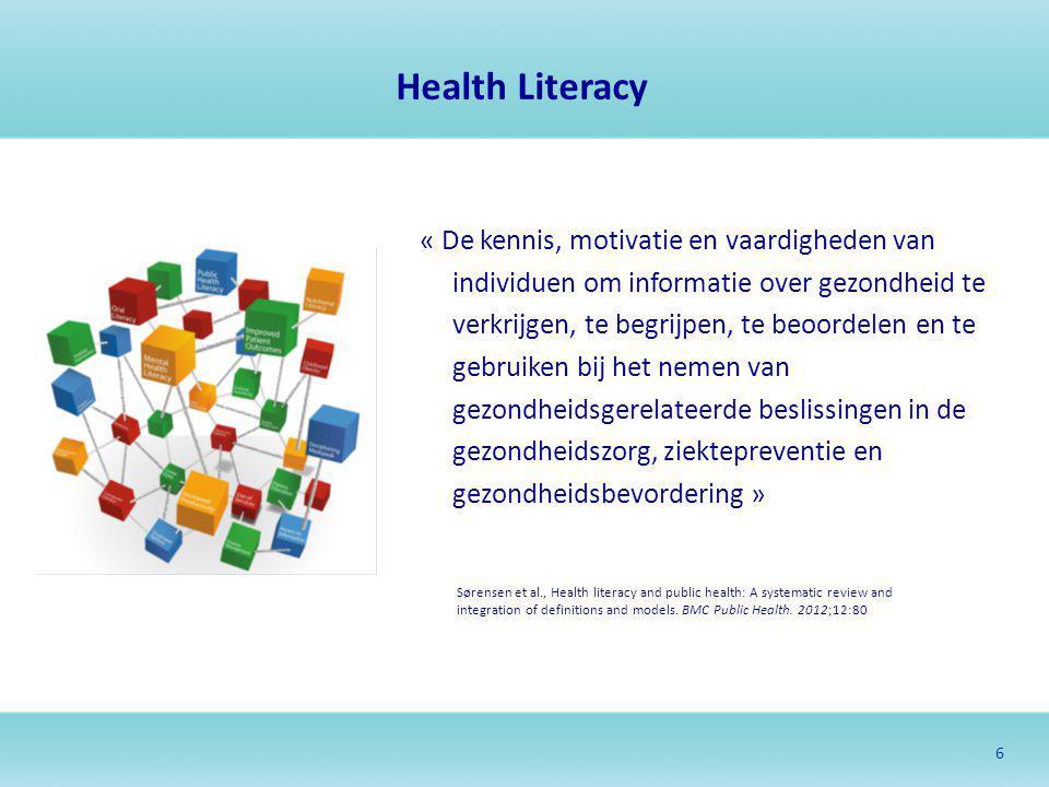 7 Geen nieuw concept … Concept « literacy » -Verwijst naar een geheel van vaardigheden of competenties die mensen nodig hebben om te kunnen functioneren in bepaalde domeinen -Toenemend belang sinds het midden van de 20 ste eeuw -Verruimd naar een aantal concrete literacies om te kunnen functioneren in de 21 ste eeuw Toepassing op gezondheid sinds jaren 1970 -Eerst klemtoon op individuele vaardigheden in de context van de gezondheidszorg (« medical health literacy») -Recenter uitgebreid naar ziektepreventie en gezondheidspromotie (« public health literacy»)