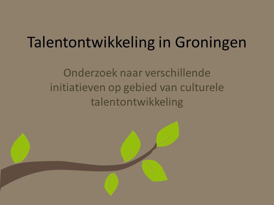 Talentontwikkeling in Groningen Onderzoek naar verschillende initiatieven op gebied van culturele talentontwikkeling