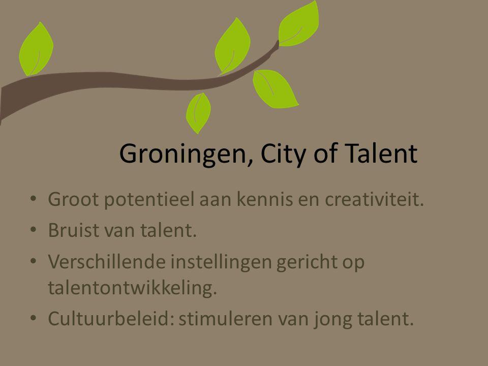 Groningen, City of Talent Groot potentieel aan kennis en creativiteit. Bruist van talent. Verschillende instellingen gericht op talentontwikkeling. Cu