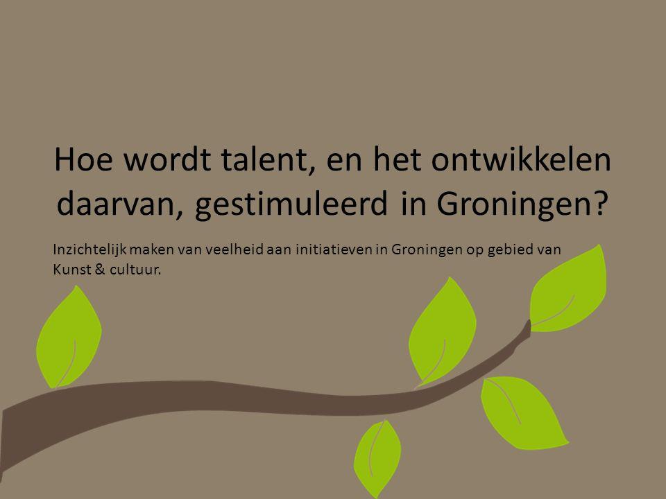 Hoe wordt talent, en het ontwikkelen daarvan, gestimuleerd in Groningen? Inzichtelijk maken van veelheid aan initiatieven in Groningen op gebied van K