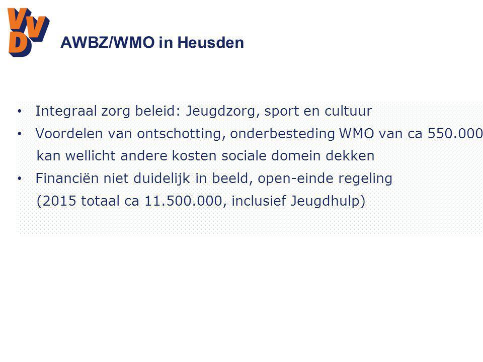 AWBZ/WMO in Heusden Integraal zorg beleid: Jeugdzorg, sport en cultuur Voordelen van ontschotting, onderbesteding WMO van ca 550.000 kan wellicht ande