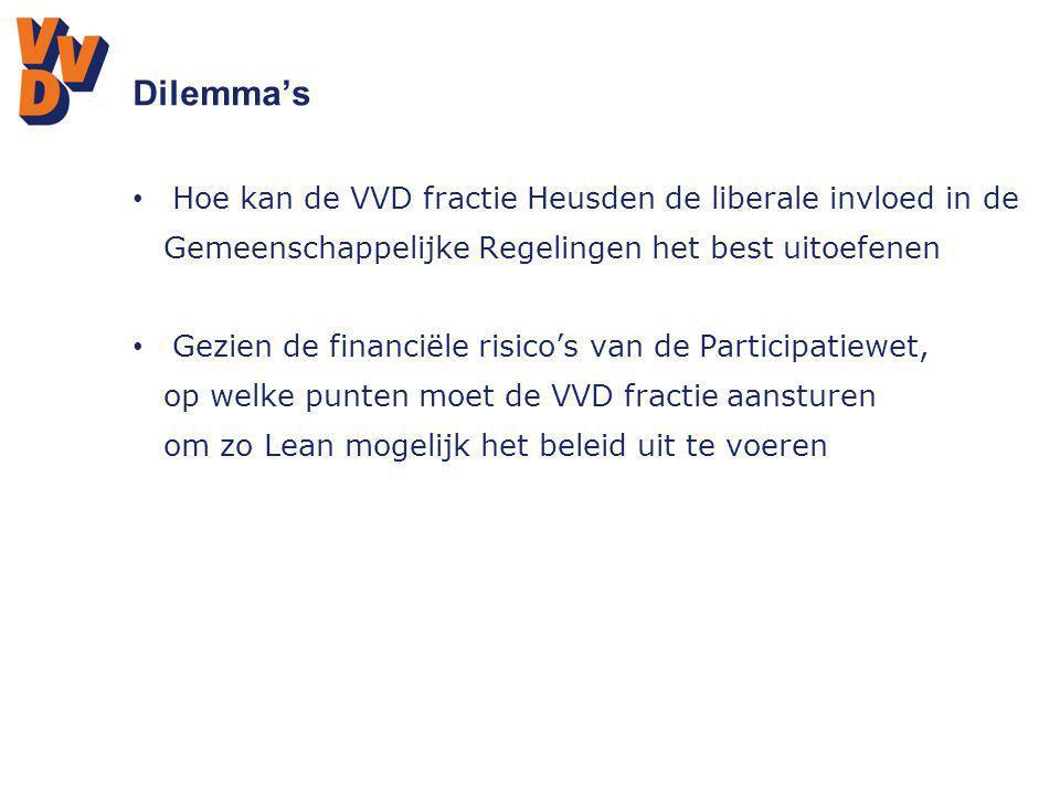 Dilemma's Hoe kan de VVD fractie Heusden de liberale invloed in de Gemeenschappelijke Regelingen het best uitoefenen Gezien de financiële risico's van
