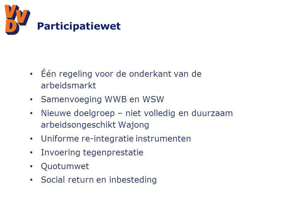 Participatiewet Één regeling voor de onderkant van de arbeidsmarkt Samenvoeging WWB en WSW Nieuwe doelgroep – niet volledig en duurzaam arbeidsongesch