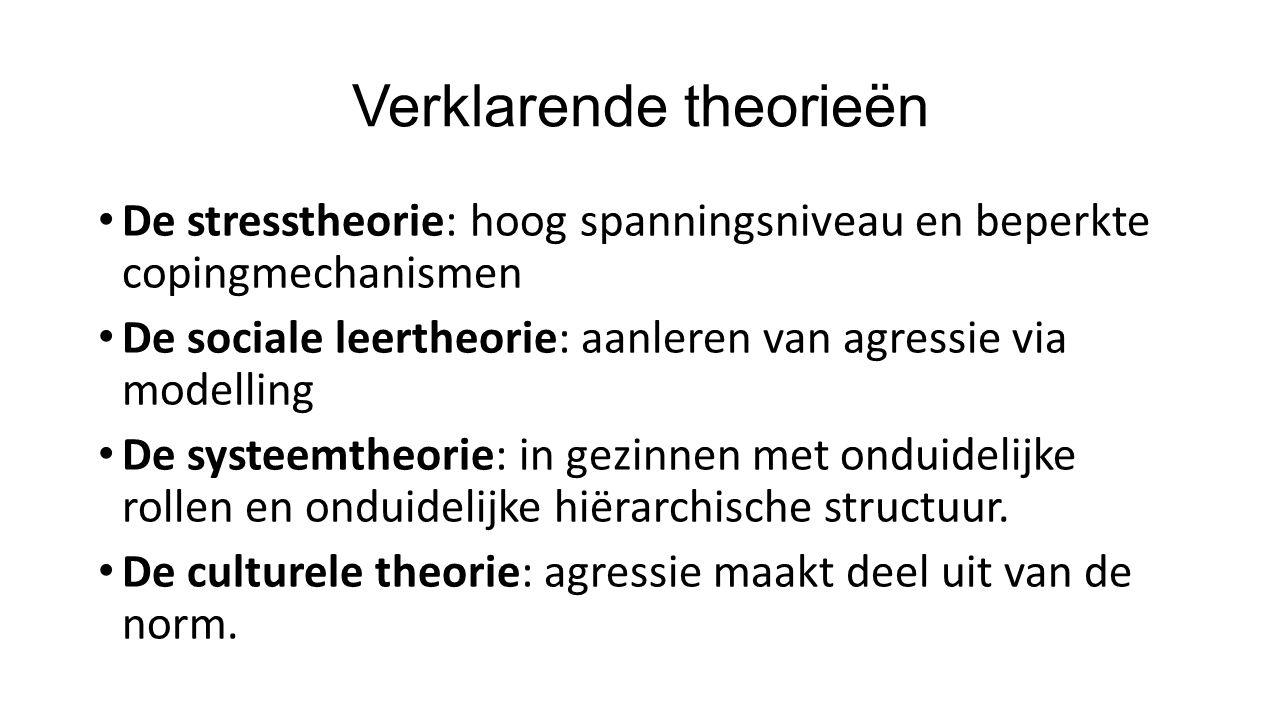 Verklarende theorieën De stresstheorie: hoog spanningsniveau en beperkte copingmechanismen De sociale leertheorie: aanleren van agressie via modelling