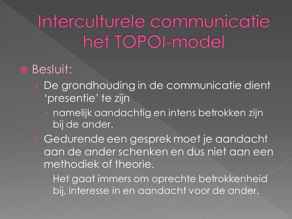  Besluit: › De grondhouding in de communicatie dient 'presentie' te zijn  namelijk aandachtig en intens betrokken zijn bij de ander. › Gedurende een