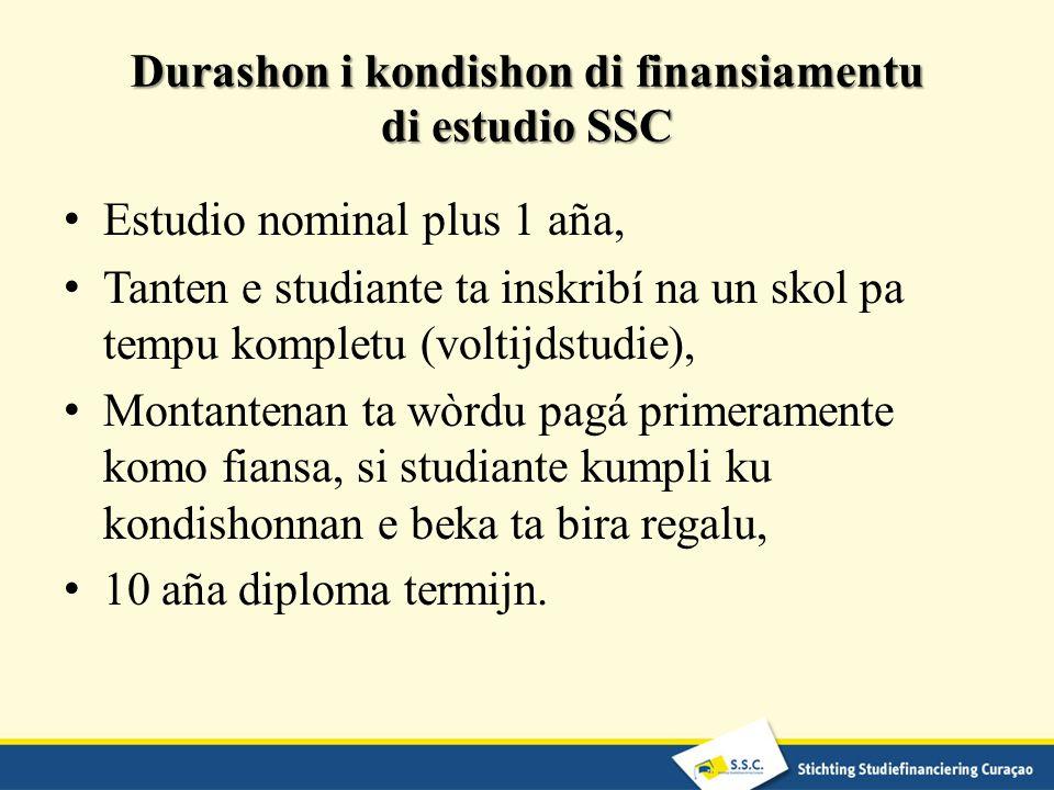 Durashon i kondishon di finansiamentu di estudio SSC Estudio nominal plus 1 aña, Tanten e studiante ta inskribí na un skol pa tempu kompletu (voltijds