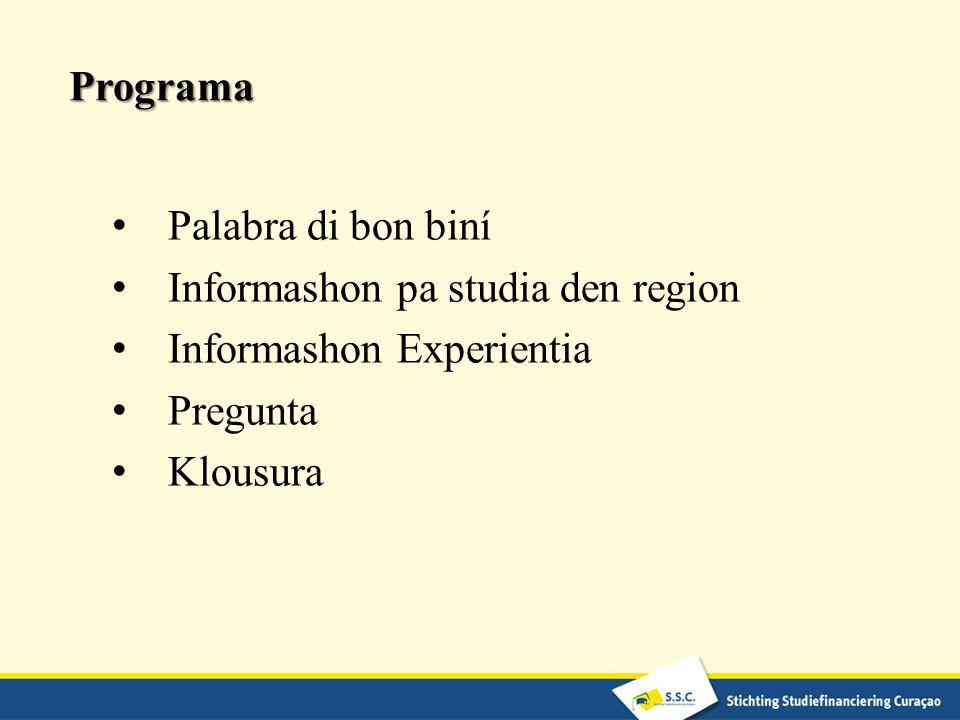 Programa Palabra di bon biní Informashon pa studia den region Informashon Experientia Pregunta Klousura