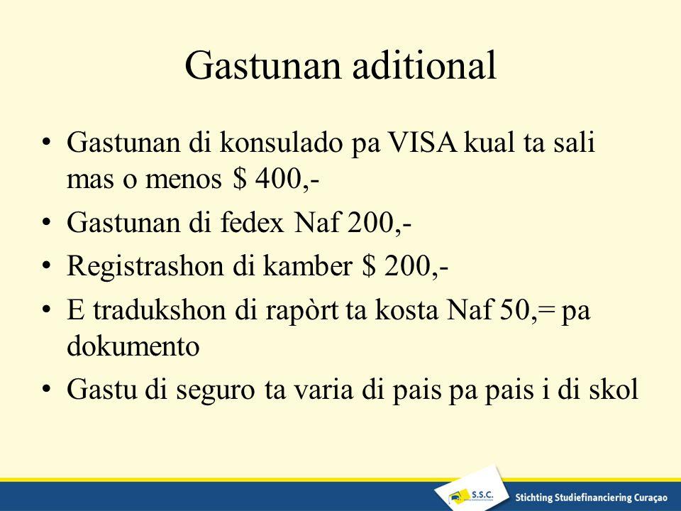Gastunan aditional Gastunan di konsulado pa VISA kual ta sali mas o menos $ 400,- Gastunan di fedex Naf 200,- Registrashon di kamber $ 200,- E traduks